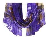 Navy Blue Scarf, Blue Chiffon Scarf, Silk Chiffon Scarf, Blue Silk Scarf, Blanket Scarf, Floral Scarf, Print Scarf, Pattern Scarf Head Scarf