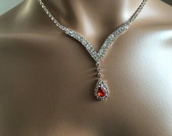 Bridal jewelry set, Blue Rhinestone necklace set,Art Deco Style Necklace Earring, Crystal Wedding Set, Vintage Glamour Look, Bridesmaid Jewe