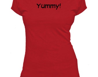 Yummy! One Word. Ladies fitted t-shirt.