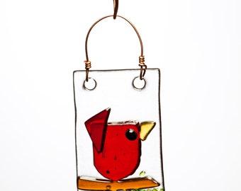 Little Red Bird Handmade Fused Glass Suncatcher Ornament