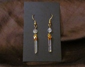 One Pair of Dangle Earrings- Quartz Mini-Crystals with tiny Moonstones- Raw, natural quartz crystal points- Gold plated findings