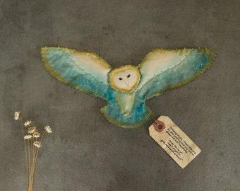 Angel owl / Alba(Blue)... small owl,Paint,embroidery,barn owl,handmade