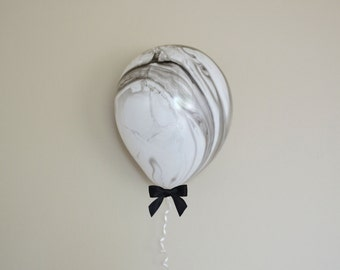 "11"" Black & White Marble Balloon + Bow Set - 6 Pack // Graduation Party Decor // First Birthday and Wedding Balloons"