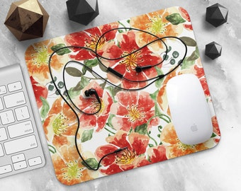 Mouse Pad Flower Mousepad Green Mouse Mat Rectangular MousePad Coworker Gift for Her Mouse Mat Round Mousemat Cute Mousepad Desk Accessories