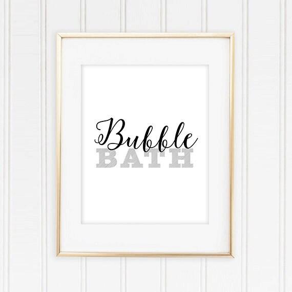 Bubble Bath Bathroom Printable Art Print 8x10 Black And