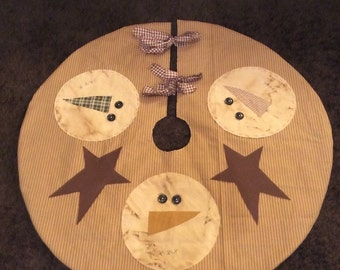 Large Primitive Snowman tree skirt 40 inches