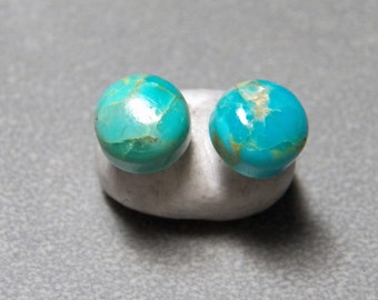 8mm Arizona Kingman Turquoise Gemstone Post Earrings with Sterling Silver