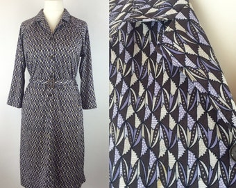 Vintage 70s Japanese Dress, Graphic Print Dress, Retro Dress, Blue Brown Cream, Size 14 16 Large, Womans Clothing