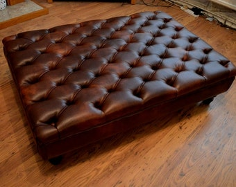 Chesterfield Extra Large Deep Buttoned Footstool in Premium Chestnut Faux Leather With Turned Hardwood Legs