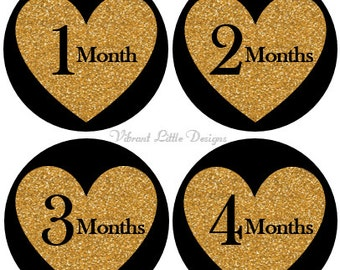 Monthly Baby Stickers Girl, Milestone Stickers, Month Stickers, Baby Month Stickers, Baby Stickers, Black and Gold #27