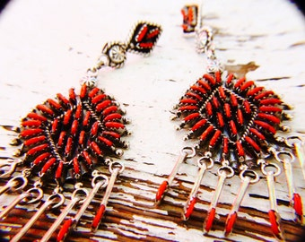 Genuine Handcrafted Coral and Sterling Silver Zuni Earrings