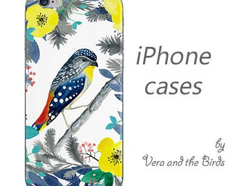 Bird and flowers iPhone case - iPhone 6 case, iPhone 5 case, iPhone 4 case, original author design, iPhone 6 plus, watercolor iPhone cover