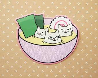 Tofu Cats in Miso Soup Vinyl Sticker