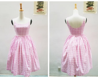 "Penelope Dress ""Soda Fountain Pink"" in Pink Checkered Gingham Print"