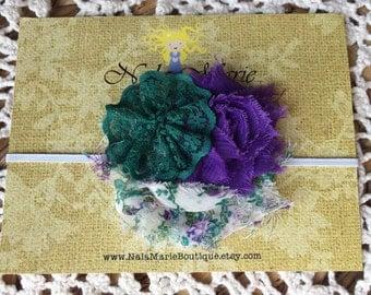 Newborn Purple and Evergreen Headband