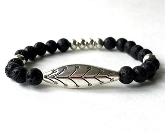 Black Lava and Silver Leaf Beaded Bracelet. Stretch bracelet, gift for her, women's bracelet, elastic bracelet, black bracelet, lava rock