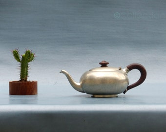 teapot vintage pewter - mid century pewter teapot