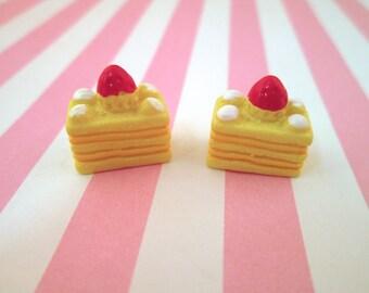 Cute Strawberry Shortcake Cabochons Miniature Desserts Kawaii Decoden Sweets, #151b