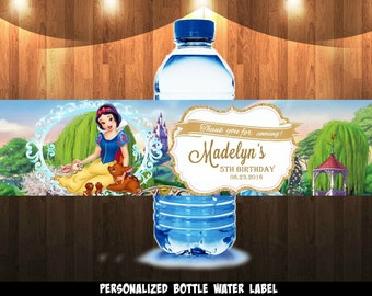 Snow white water bottle label,Snow white, water bottle label, water label, bottle label, labels,Snowwhite, Princess