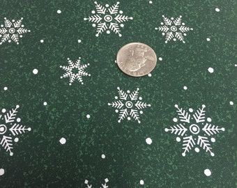 Woodland Christmas Green Snowflake from Blank By the yard