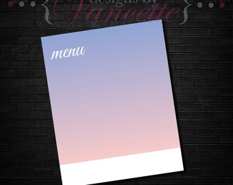 Gradient Menu, Bridal Menu, Bridal Shower Menu, Wedding Shower Menu, Baby Shower Menu, Party Menu, Wedding Menu, Birthday Party Menu