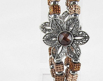 Bracelet - Bronze & Silver Crystals With Metal  (B351)