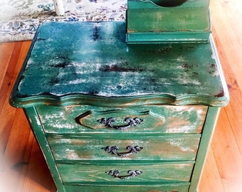 Shabby Chic End Table, distressed green w/ gold undertones, farmhouse antique, rustic nightstand, side table, painted, repurposed furniture