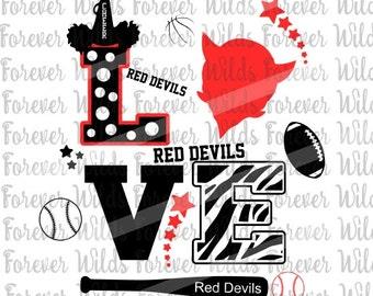 RED DEVILS - Team Logo - School Spirit - football mom - red devils baseball - red devils football - create your own - Devils svg - cameo