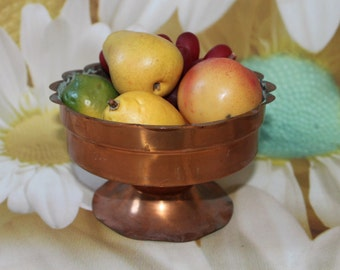 Vintage Copper Pedestal Bowl/ Fruit Bowl