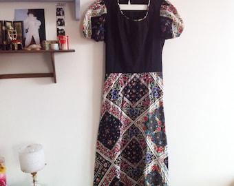 70s long dress, floral, paisley print, balloon sleeves / extra small