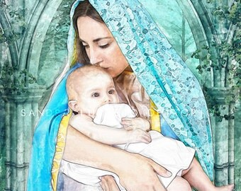 "Catholic art, Virgin Mary with Child Jesus, religious art, 8x 10"" religious print, a perfect religious gift idea."