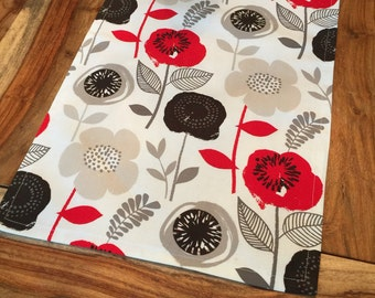 Bold Floral Fabric Table Runner- Red, black, grey and beige