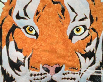 Tiger Art Quilt Wall Hanging