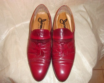 Red Leather Jarman Tassel Loafers 9.5D