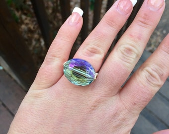 The Arctic Ring, Iridescent Blueish Purple Oval Crystal Gold or Silver Wire Wrapped Ring