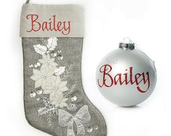 Personalised Silver Poinsettia Stocking and Bauble Pack