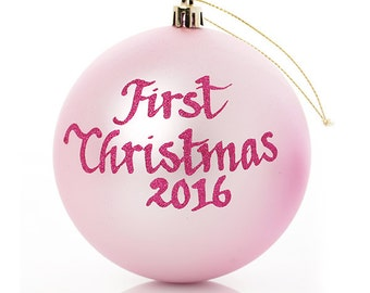 My First Christmas Baby Pink Personalised Bauble