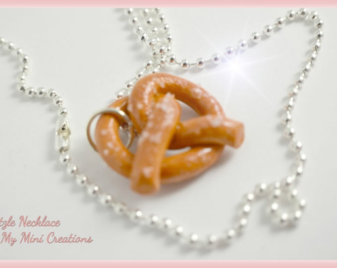Salted Pretzel Necklace, Miniature Food, Miniature Food Jewelry, Food Jewelry