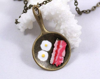 miniature food jewelry/for/girls gift sister funny gift pendant necklace gift unique necklace food necklace cook gift breakfast jewelry Рю40