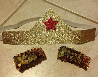 Gold glitter accessories, Wonder headband, Women headband, costume accessories, Gold tiera headband, gold headband, wonderful woman costume