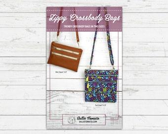 Pattern for Trendy Crossbody Bag in Two Sizes // Zippy Crossybody // Cross Body Purse // Fat Quarters // Vinyl // Travel Bag