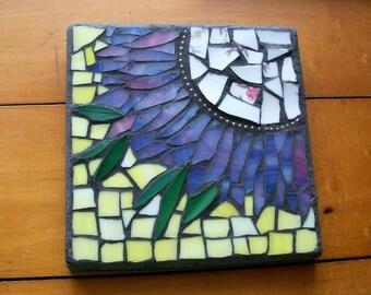 6x5.75 inch Purple Pink flower Mosaic Wall Art Plaque,flowers,glass on wood,hand cut,flower,yellow,ball chain,Broken China