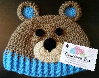 crochet baby hat bear