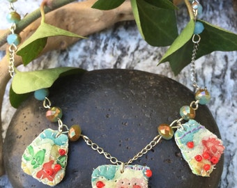 Floral Textile Necklace Handpainted Silk Beaded Red and Turquoise