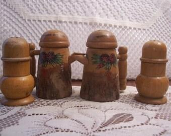 Two Pair of Wood Salt & Pepper Shakers, Japan