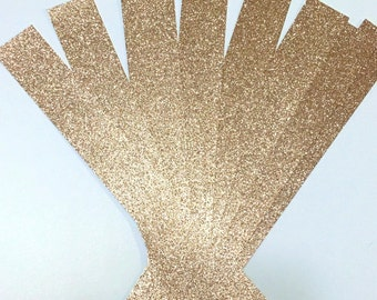 100 Glitter BellyBands, Gold Glitter Belly bands for Wedding Invitations