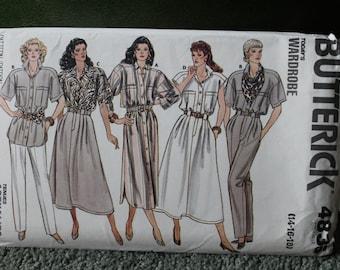 Butterick 1987 Pattern for Tunic, Shirt Dress, Pleated High-Waist Trousers, & Flared Skirt w/ Pockets + Mock Fly Zipper sz 14 16 18 #4836