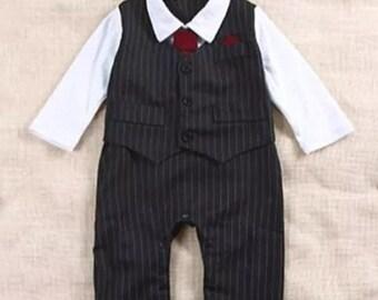 Pinstripe vest onesie with hat 6-12 months