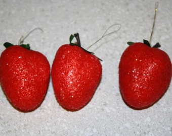 3 extra large strawberry ornaments