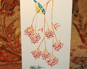 Bluebird and Berries Card (Hand Painted)